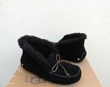 UGG ALENA BLACK SHEEPWOOL CUFF MOCCASIN SLIPPERS, WOMEN US 7/ EUR 38 ~NEW