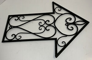 """Black ARROW Metal / Wrought Iron Hanging Sign- Wall or Outdoor Fence 15"""" Long"""