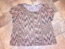 KIM ROGERS WOMAN Snake Print Chevron ELEGANT Shirt Top Blouse Womens Size 3X 💖