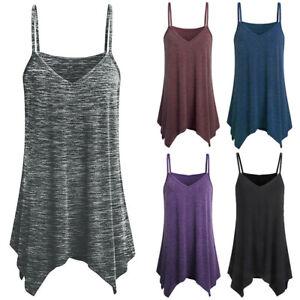 Women's Spaghetti Strap Tank Camisole Summer Vest Swing Blouse Tops Plus Casual
