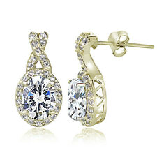 Yellow Gold Flashed Sterling Silver 5ct Cubic Zirconia Oval and X Drop Earrings