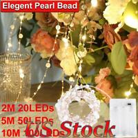 US Pearl Beaded LED Fairy String Lights Battery Powered Christmas Party Decor