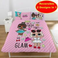 NEW LOL SURPRISE GLAM DOUBLE DUVET QUILT COVER SET GIRLS KIDS PINK BEDROOM GIFT
