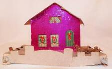 Vintage Christmas House Train Yard Putz Display Magenta Foil Cardboard #104