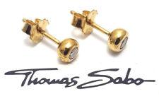 Thomas Sabo Ohrstecker Silber vergoldet mit weißem Zirkonia 5 Mm H1819-414-14