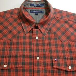 Tommy Hilfiger Cotton/Wool Vintage Men's Size Large Western Style Snap Shirt EUC