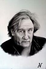 Gérard Depardieu - ritratto portrait grafite e carboncino cm. 33 x 48