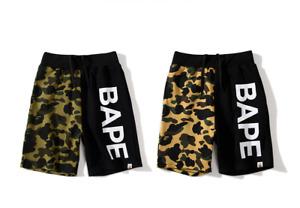 Bape Men's Pants Shark Ape Head Stitching Color Contrast Camouflage Shorts Cross