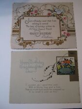 2 Vintage Linen & Gold Birthday Cards, Aesthetic Floral Granddaughter, Sparrows