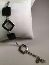 Gooix Armband, Kette, Edelstahl poliert/ Onyx schwarz Edelstahl, Schmuck