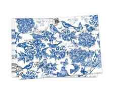 "Set of 4 INDIGO Fabric Placemats by Michel Design Works - 20""x14"" Flowers Birds"