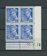 COIN DATÉ - 1938 YT 407 - 10 c. outremer - TYPE MERCURE - TIMBRES NEUFS** MNH