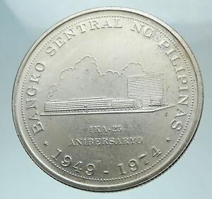 1974 PHILIPPINES Central Bank Anniversary Genuine Silver 25 PESO Coin i81489
