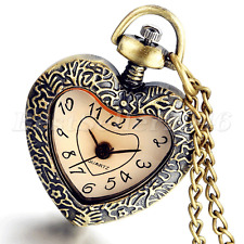 Cute Bronze Heart Shaped Pocket Watch Pendant Necklace Chain Womens Girls Gifts