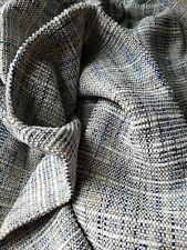 Soft Gray White Blue Woven Chenille Remnant Upholstery Fabric