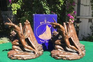 vintage Weidlich Bros Indian Scout bookends, huge, teepee, fantastic condition