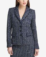 DKNY Womens Tweed Blazer Blue/Black/Ivory Size 2