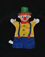 Peluche doudou marionnette clown ANIMA SCENA bleu jaune chapeau vert 30 cm TTBE