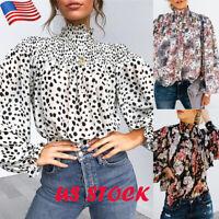 Womens Polka Dot High Collar Long Balloon Sleeve Tops Ladies Casual Tunic Blouse