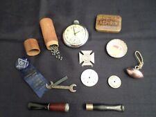 Vintage Men's Junk Drawer Lot Watch, Wrench, 1938 Pinback, Medico & More