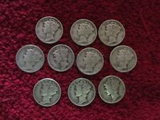 lot of 10 SILVER  mercury dimes