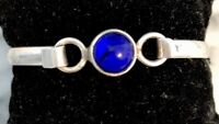 Solid Sterling Silver Cuff Bracelet with Blue stone Hinged Vintage 16.3 Grams