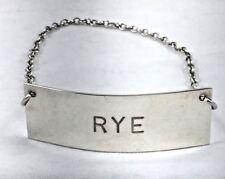 Rye Plain Heavy Sterling Liquor Label