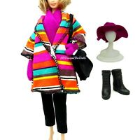 1994 Barbie Pret a Porter Fashion Colourful Stripe Coat Trousers Hat Boots Bag