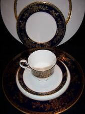 RARE FIND Mikasa Buckingham Cobalt Blue ONE 5 pc Dinner Place Setting w24Kt Gold