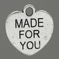 """50 Breloques Pendentifs Coeur """"MADE FOR YOU"""" 16x15mm B23463"""