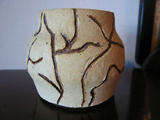 Vintage Signed & Dated Ceramic Vase w/ Line / Tree Like Decoration