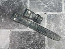 22mm Genuine Alligator Skin Leather Rivet Strap Blue Band for IWC BIG PILOT X1
