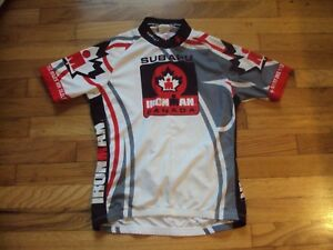 RED WHITE GRAY & BLACK IRON MAN CANADA CYCLING RACE BICYCLING JERSEY SUGOI S/P