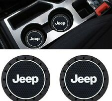2.75 Black Oval Interior Jeep Cup Holder Coasters Logo. New Condition.