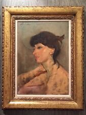 "oil painting original ""lisa"" framed and signed by stuart kaufman 1926-2008"