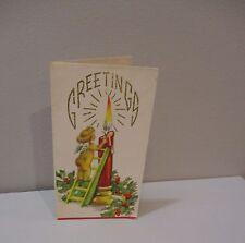 Vtg Christmas Card Glitter Pretty Little Angel Girl Climbs Ladder Lights Candle