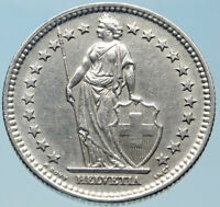 1944 SWITZERLAND - SILVER 2 Francs Coin HELVETIA Symbolizes SWISS Nation i82392