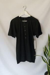 HUDSON Men's Black Popper Button T-shirt 100% Cotton Tee Jersey Size M Med Short