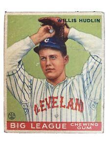 1933 Goudey Baseball WILLIS HUDLIN card #96 CLEVELAND INDIANS grades F-G