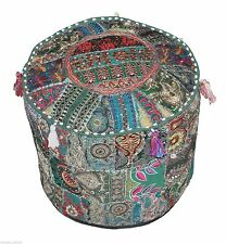 Vintage Pouf Ottoman Round Indian Ottoman Cover Poof Pouffe Foot Stool Ethnic Gn