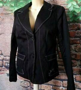 Worthington ~ Black White Stitching 2 Button Pockets Long Sleeve Jacket