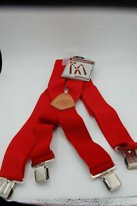 "Rooster 2""wide heavy duty work red  suspenders leather & brass reinforced"