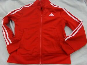 Adidas Red With White 3 Stripe Zip Jacket Youth Size 8
