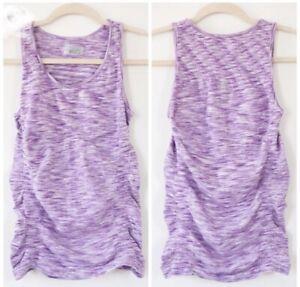 Athleta Breathe Tank XS Purple Thistle Spacedye Organic Cotton Ruched T Top