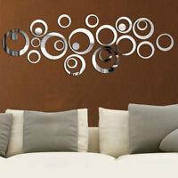 24 Pcs Circle Acrylic Plastic Mirror Wall Home Decal Decor Vinyl Art Stickers JD