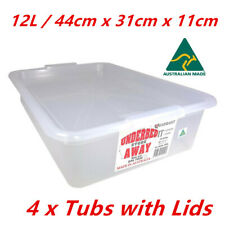 4 x 12L Clear Plastic Under bed Box w Lid Storage Containers Tubs Australia Made