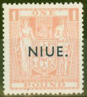 Niue 1943 £1 Pink SG82 Fine Lightly Mtd Mint