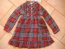 (199) Nolita Pocket Girls Kleid mit Volants Perlmuttknöpfen & Flock Druck gr.104