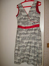Kleid Bea and Dot ModCloth US Musik Rocabilly 38-40 weiß-schwarz-rot 100%BW NEU
