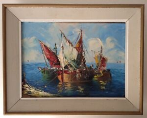 Antique Oil Impressionist painting Fishing Boats Follower Edgar Alwin PAYNE
